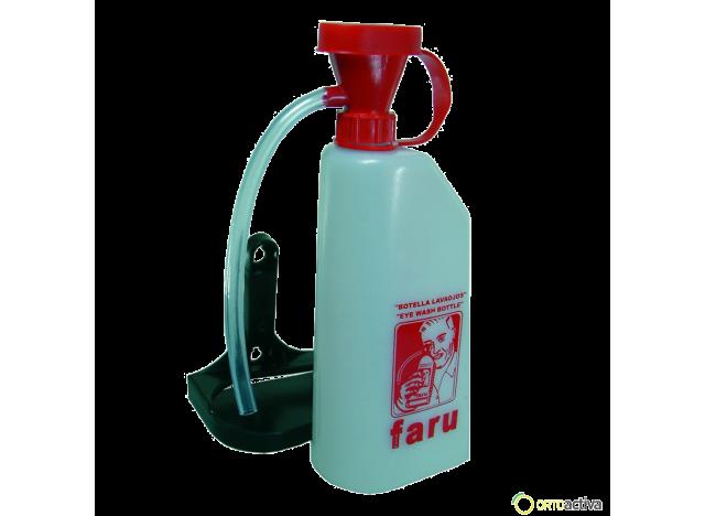 BOTELLA LAVA OJOS CON SOPORTE Y TUBO SILICONA 0.6 litros. REF.C511