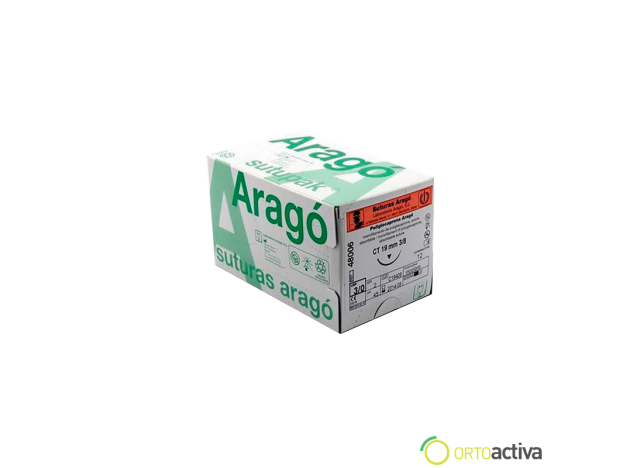 SUTURA POLIGLECAPRONA ABSORBIBLE ARAGO 5/0 C8 70 cm. REF. 47002