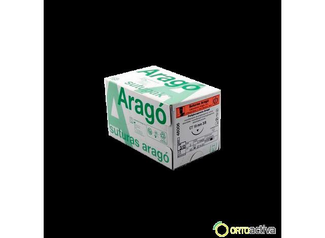 SUTURA POLIGLECAPRONA ABSORBIBLE ARAGO 3/0 C14 70 cm. REF. 47008