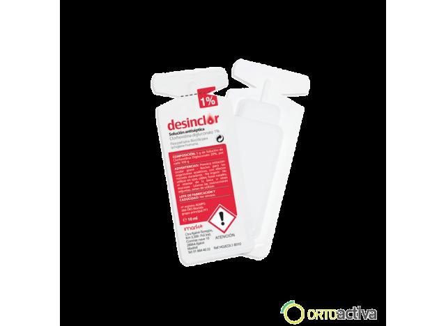 SOLUCION ANTISEPTICA CLORHEXIDINA DIGLUCONATO DESINCLOR 1%, MONODOSIS 10 ml.