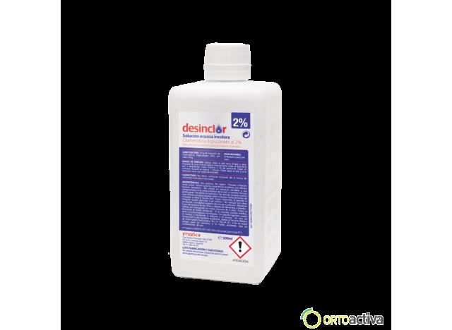 SOLUCION ANTISEPTICA CLORHEXIDINA DIGLUCONATO DESINCLOR ACUOSA 2%, 500 ml. INCOLORA REF. HG02AC2IN/T0500